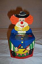 Wooden Clown Coin Bank