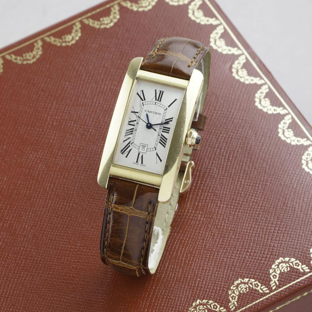GENTLEMENS CARTIER TANK AMERICAINE 18CT GOLD AUTOMATIC WRISTWATCH W/ BOX & BOOKLETS REF. 2504