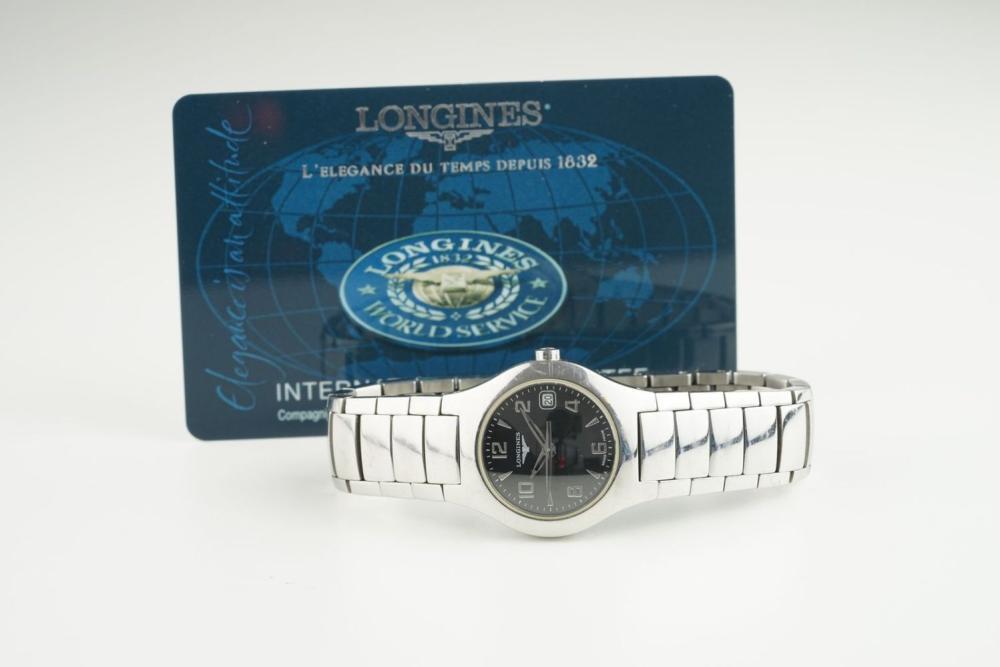 LADIES LONGINES DATE WRISTWATCH W/ GUARANTEE CARD