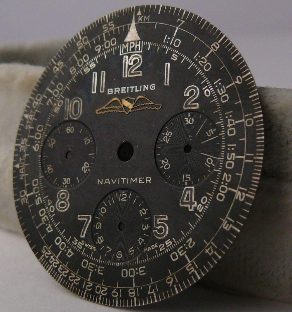 Vintage Breitling Navitimer 806 All Black Dial. Please note that the dial is completely original. The luminous material is missing from the figures