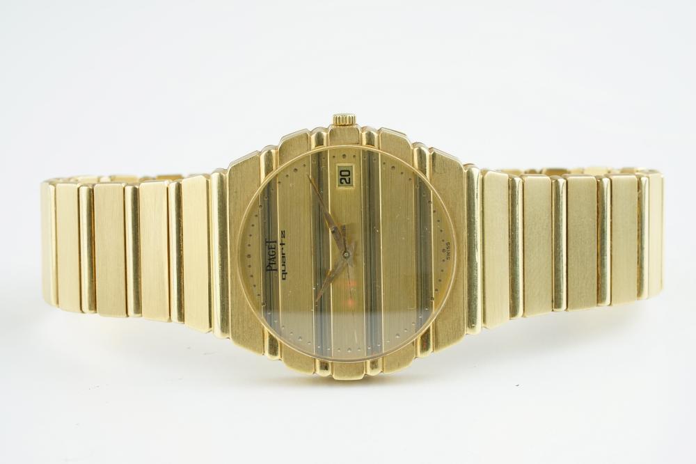 GENTLEMENS PIAGET POLO QUARTZ 18CT GOLD WRISTWATCH