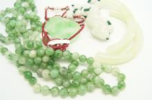 Selection of jade, including a broken jade bangle, a dyed jade bead necklac