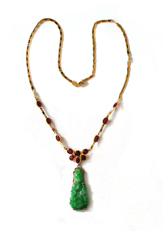 JADE GUANYIN RUBY STONE NECKLACE
