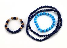 SET OF LAPIS LAZULI AND MIXED MEDIA NECKLACE AND BRACELETS