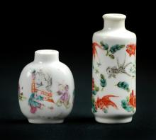PAIR OF WHITE PORCELAIN PAINTED SNUFF BOTTLES