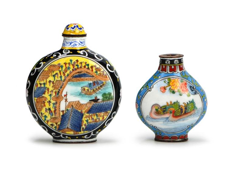 PAIR ENAMEL SNUFF BOTTLE