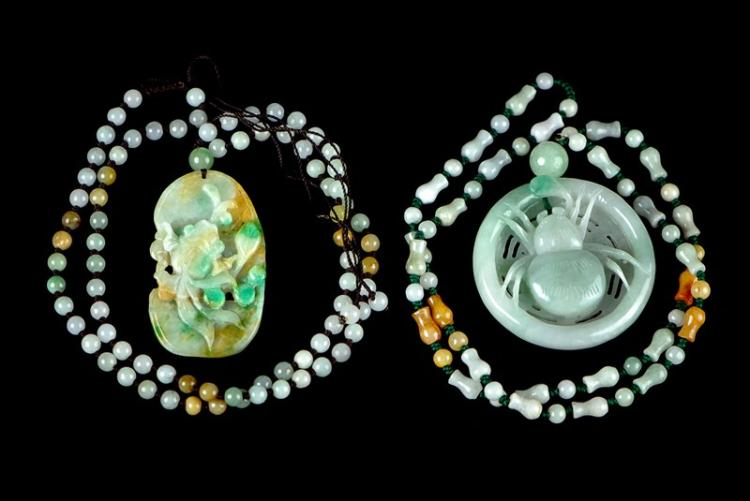 PAIR OF JADE NECKLACES