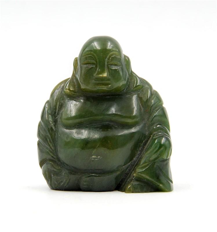 DARK JADE MAITREYA BUDDHA