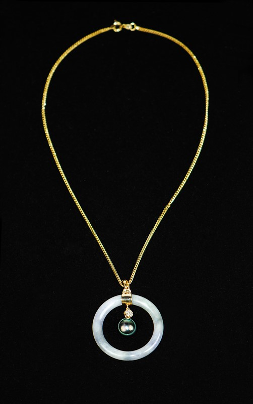 BLACK PEARL JADE GOLD PLATED NECKLACE