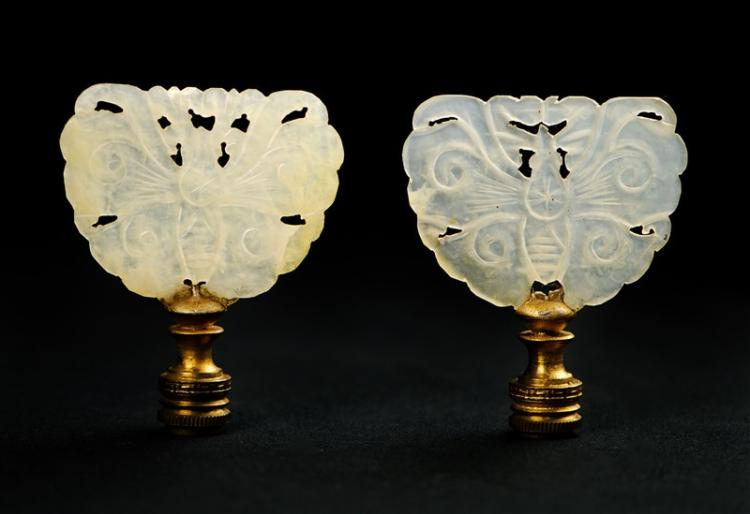 PAIR OF BUTTERFLY JADE LAMP FINIALS