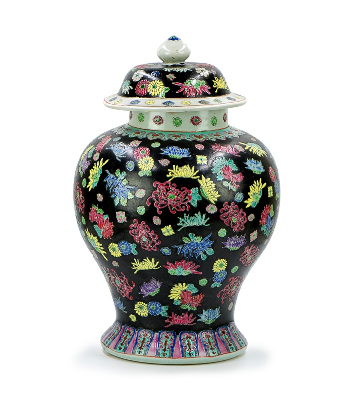 NOIR GROUND FLOWERS JAR