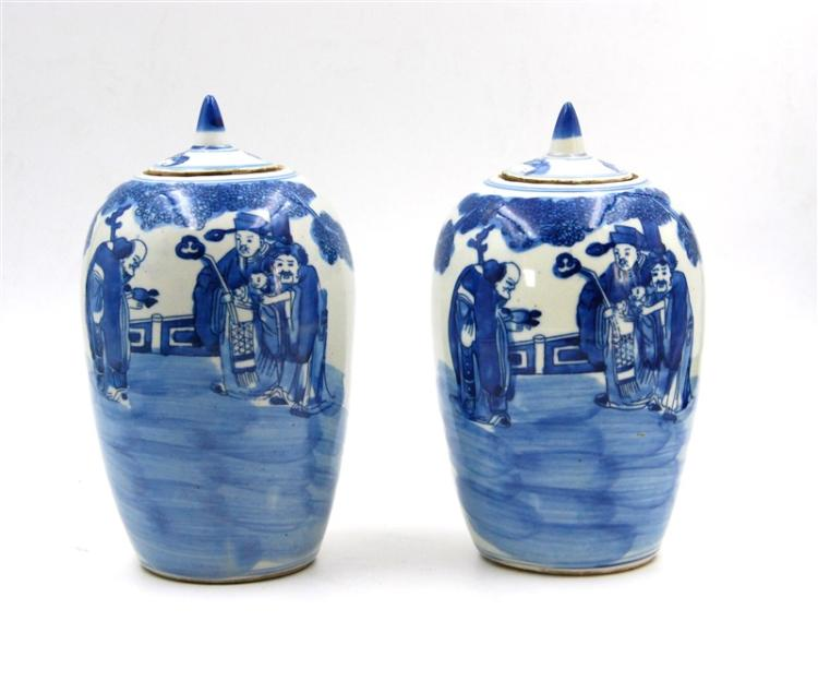 PAIR OF QING-HUA FIGURAL LIDDED VASES
