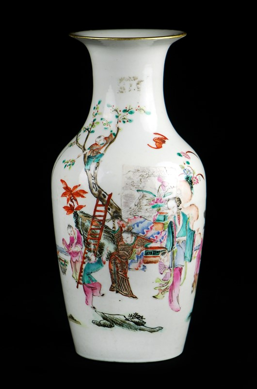 WHITE PAINTED FIGURAL VASE