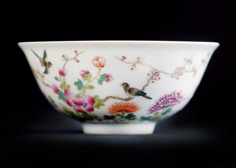 FAMILLE ROSE BIRDS AND FLOWERS BOWL