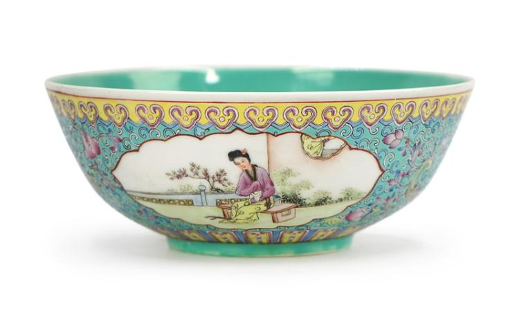 TURQUOISE GROUND FIGURAL BOWL