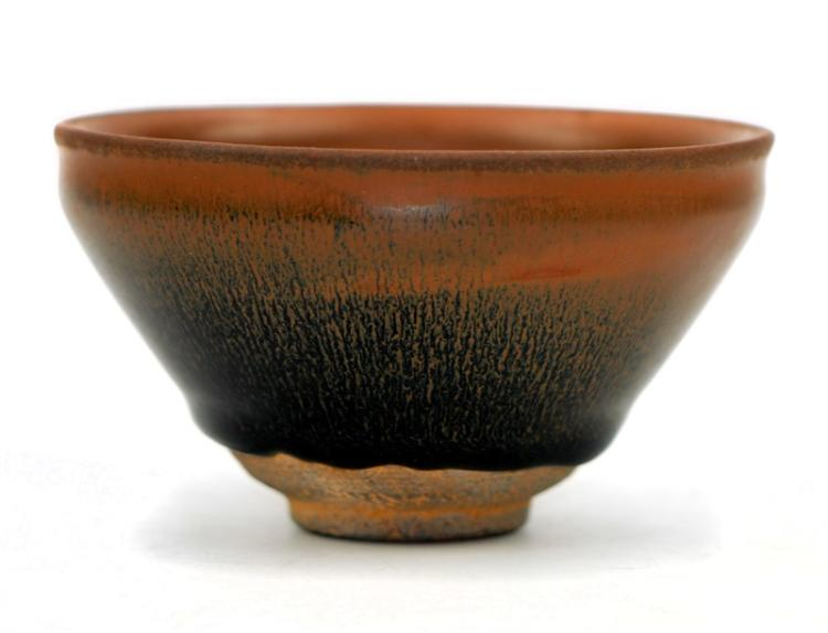 BLACK AND BROWN HARE'S FUR BOWL