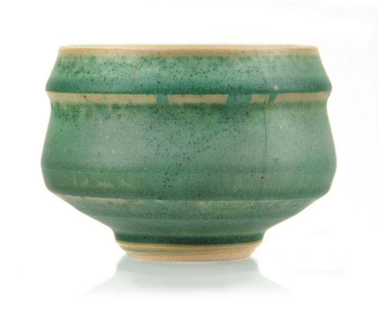 TALL GREEN GLAZED BOWL
