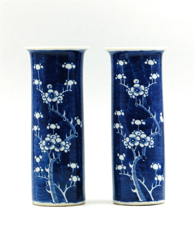 TWIN PAIR OF BLUE AND WHITE PORCELAIN VASES