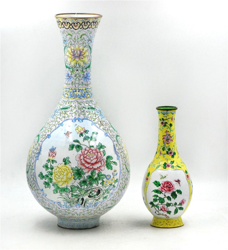 ENAMELED BRONZE VASE PAIR