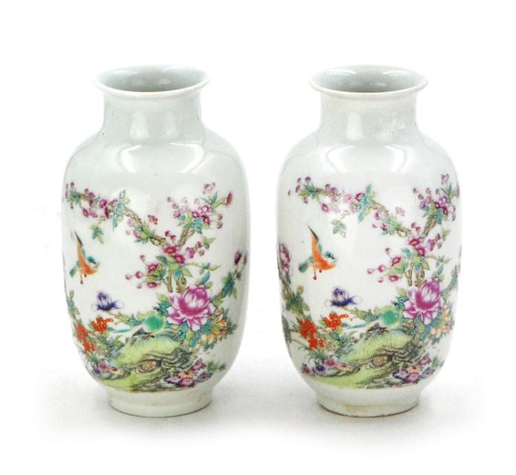 PAIR OF WHITE BIRDS AND FLOWERS VASES