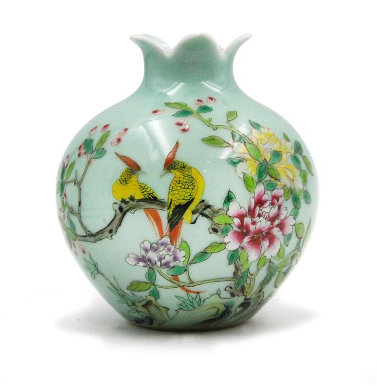 CELADON GREEN BIRDS AND FLOWERS VASE