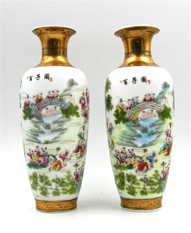 PAIR OF FAMILLE ROSE VASES