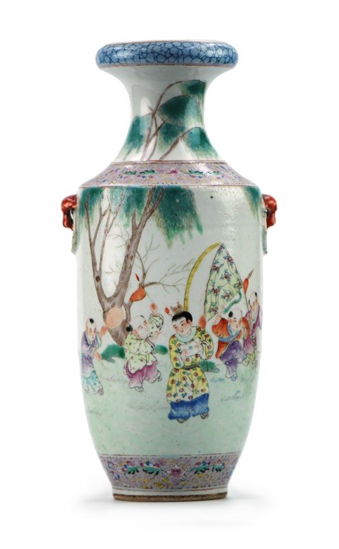 PAINTED CHILDRENS SCENE VASE