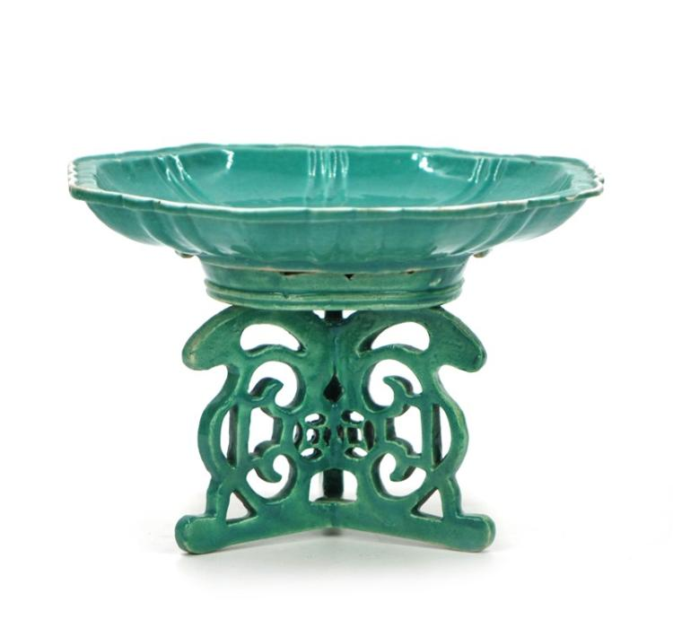 GREEN GLAZED FOOTED COMPOTE DISH