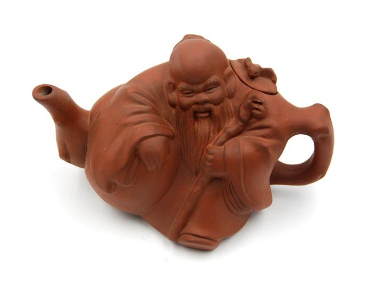 POTTERY FIGURAL TEAPOT