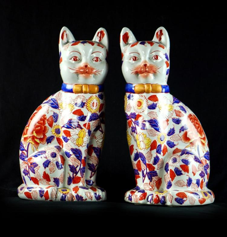 PAIR OF IMARI CATS