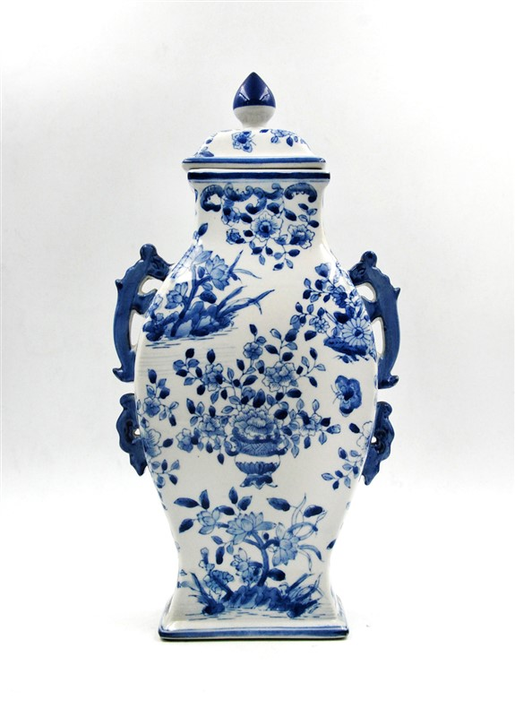 BLUE AND WHITE HANDLED FLOWERS VASE