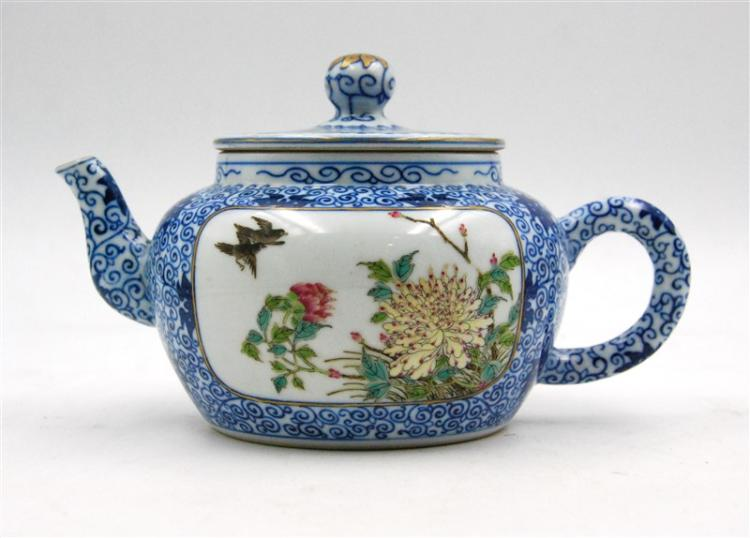 BLUE BIRDS AND FLOWERS TEAPOT