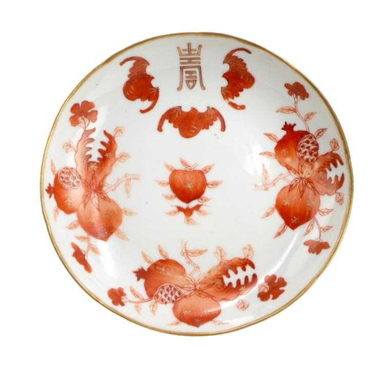 RED WHITE BAT PEACH DISH