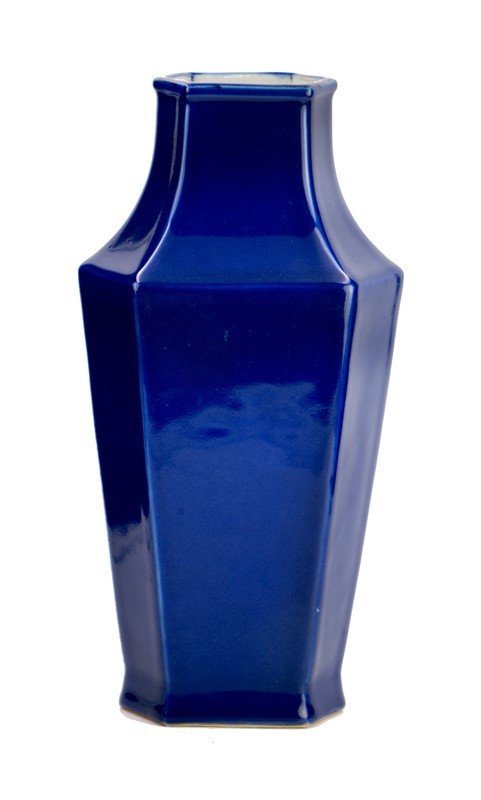 BLUE GLAZED FACETED VASE