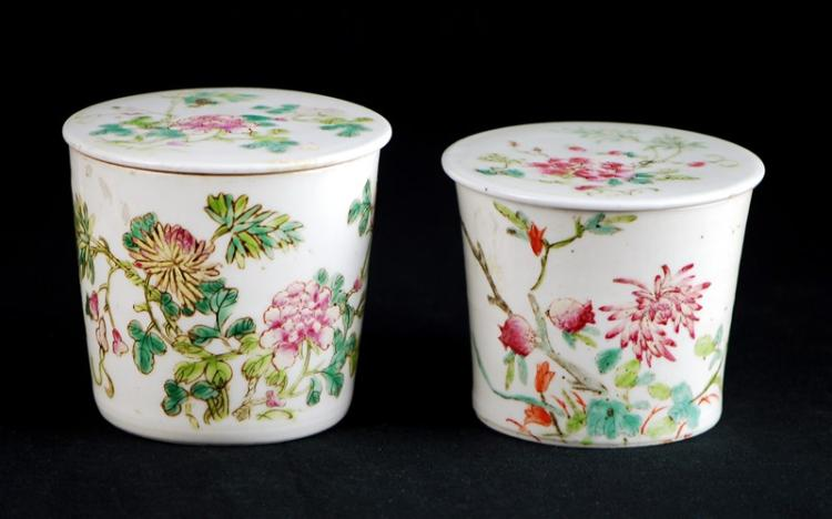 PAIR OF PAINTED PORCELAIN TEA CANISTERS