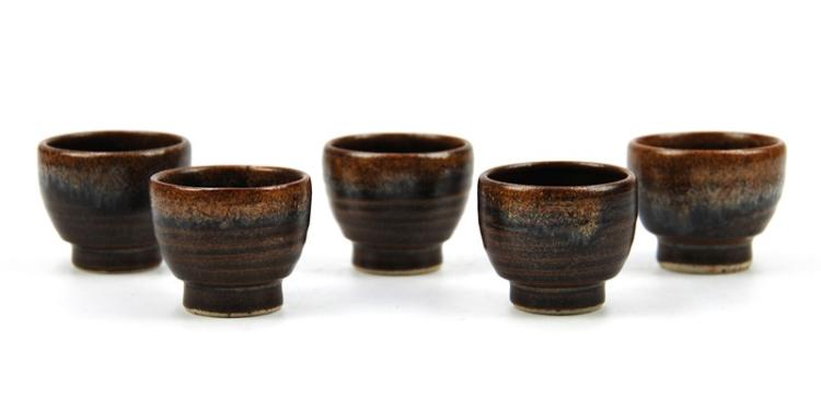BROWN GLAZED SAKE CUP SET