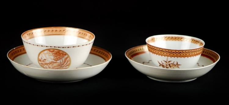 GILT CUP AND SAUCER PAIR