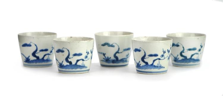 SET OF BLUE AND WHITE SOBA CUPS