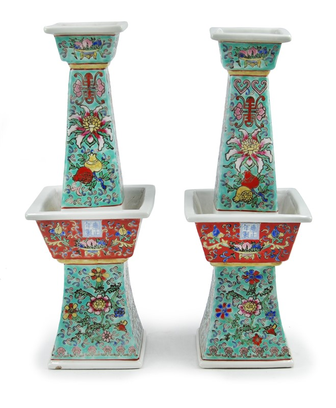 PAIR OF PORCELAIN ALTAR CANDELABRA