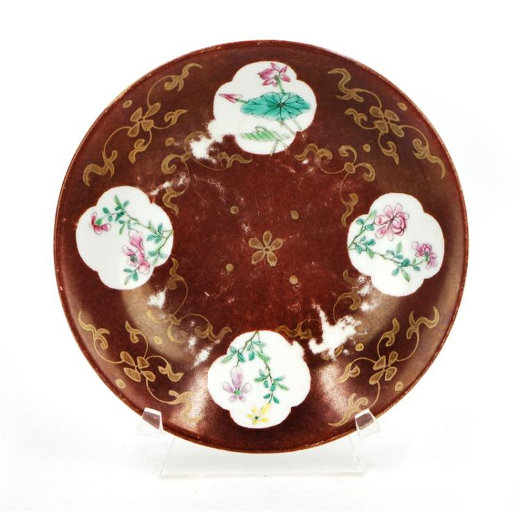 OXBLOOD GLAZED FLORAL PLATE