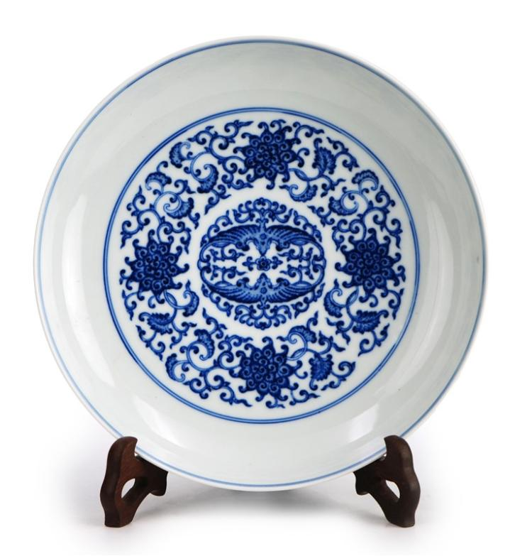 BLUE AND WHITE BATS QING PLATE