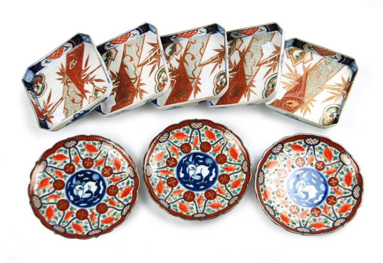 EIGHT PIECE IMARI DISH GROUP