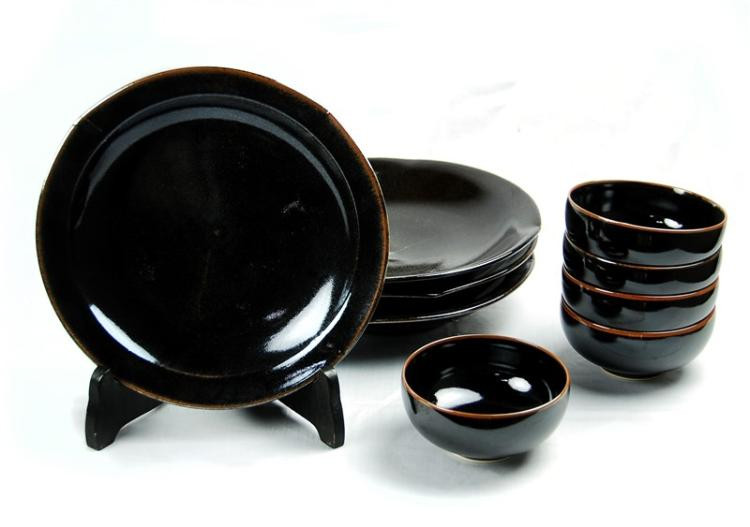 BLACK AND BROWN TENMOKU STYLE SET