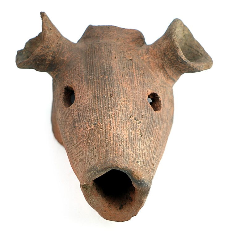 JAPANESE EARTHENWARE HANIWA DOG HEAD
