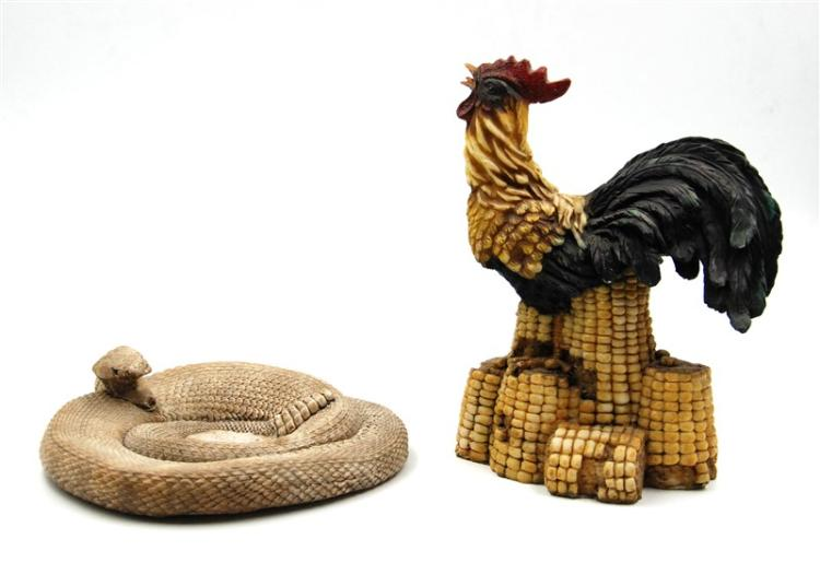 RATTLESNAKE AND ROOSTER FIGURINES