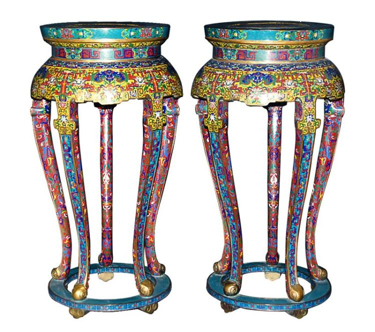 PAIR OF ENAMEL STANDS