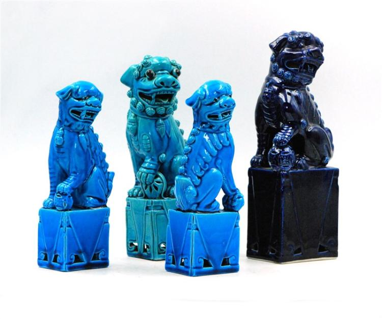 BLUE GLAZED FOO DOG SET