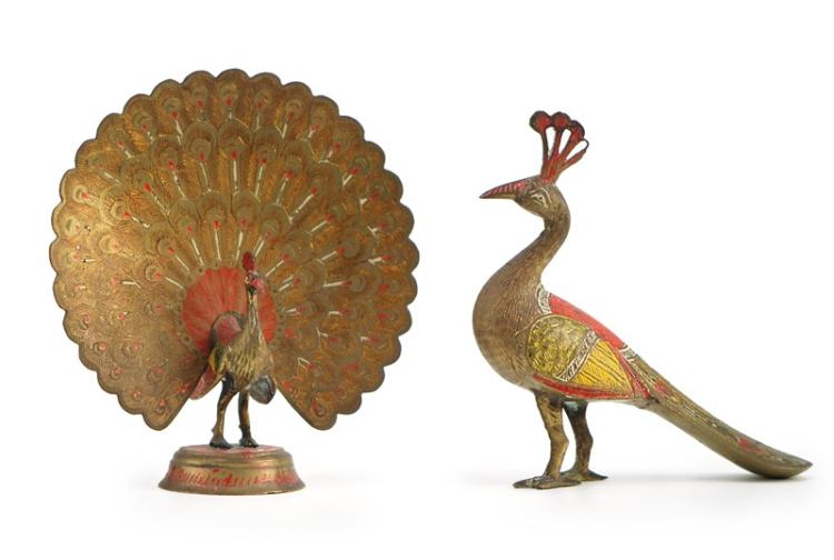 PAIR OF BRONZE PEACOCKS