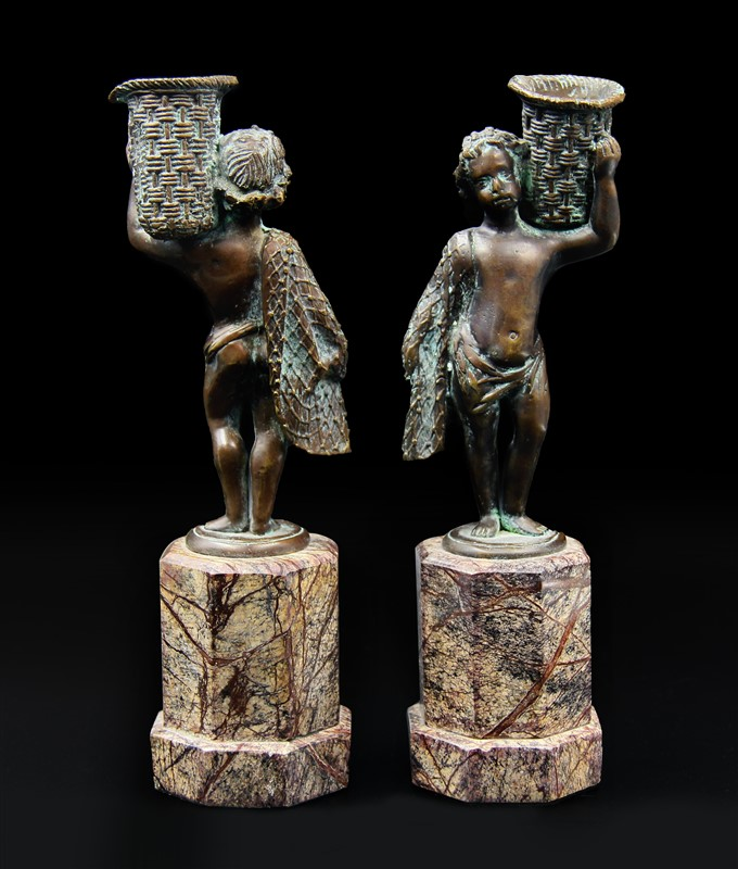 BRONZE AND MARBLE CANDLEHOLDERS