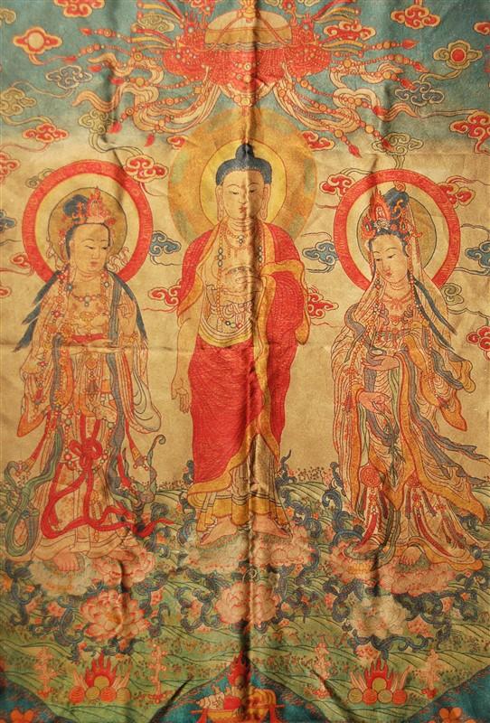 PRINTED BUDDHA AND BODHISATTVA SILK PIECE